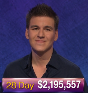 James Holzhauer, today's Jeopardy! winner (for the May 27, 2019 game.)