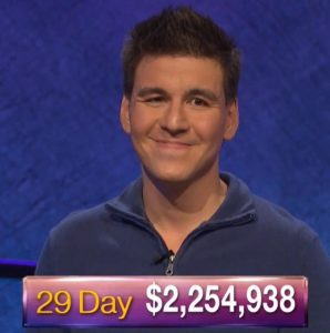 James Holzhauer, today's Jeopardy! winner (for the May 28, 2019 game.)