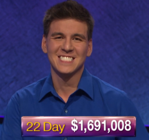 James Holzhauer, today's Jeopardy! winner (for the May 3, 2019 game.)