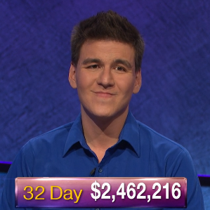 James Holzhauer, today's Jeopardy! winner (for the May 31, 2019 game.)