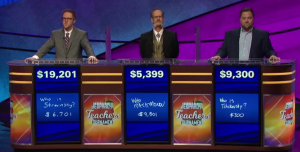 Today's Jeopardy! final scores (for the May 15, 2019 game.)