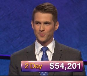 E.J. Wolborsky, tonight's Jeopardy! winner (for the June 13, 2019 game.)