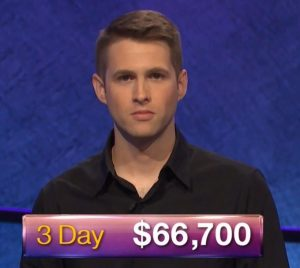 E.J. Wolborsky, today's Jeopardy! winner (for the June 14, 2019 game.)