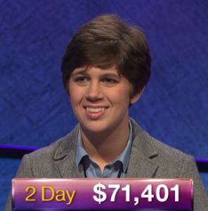 Emma Boettcher, today's Jeopardy! winner (for the June 4, 2019 game.)