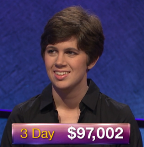 Emma Boettcher, today's Jeopardy! winner (for the June 5, 2019 game.)