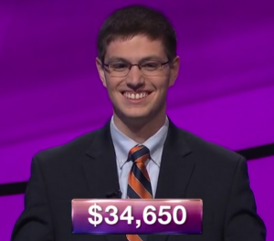 Ryan Bilger, today's Jeopardy! winner (for the July 4, 2019 game.)