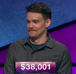Sam Kavanaugh, today's Jeopardy! winner (for the July 10, 2019 game.)