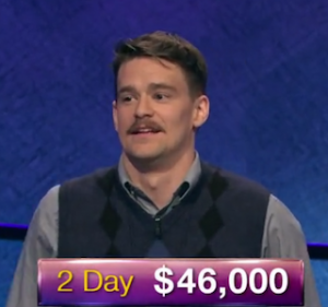 Sam Kavanaugh, today's Jeopardy! winner (for the July 11, 2019 game.)