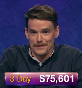 Sam Kavanaugh, today's Jeopardy! winner (for the July 12, 2019 game.)