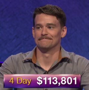 Sam Kavanaugh, today's Jeopardy! winner (for the July 15, 2019 game.)