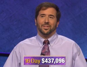 Jason Zuffraneiri, today's Jeopardy! winner (for the September 20, 2019 game.)