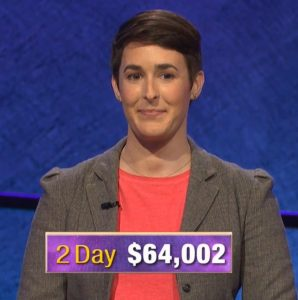 Laurel Lathrop, today's Jeopardy! winner (for the September 30, 2019 game.)