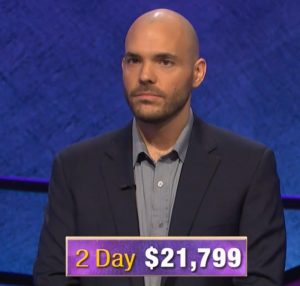 Daryn Firicano, today's Jeopardy! winner (for the October 18, 2019 game.)