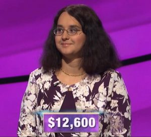 Jessica Garsed, today's Jeopardy! winner (for the October 7, 2019 game.)