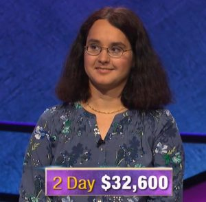 Jessica Garsed, today's Jeopardy! winner (for the October 8, 2019 game.)