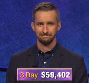 Kevin Boettcher, today's Jeopardy! winner (for the October 3, 2019 game.)