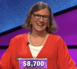 Susan White, today's Jeopardy! winner (for the October 11, 2019 game.)