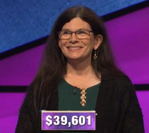 Beth Stewart, today's Jeopardy! winner (for the November 5, 2019 game.)