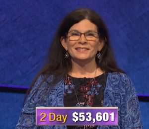 Beth Stewart, today's Jeopardy! winner (for the November 26, 2019 game.)