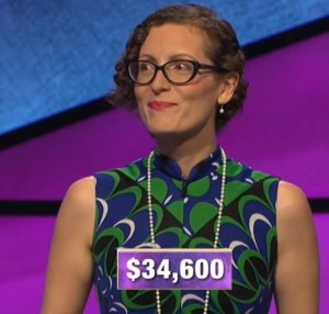 Elise Nussbaum, today's Jeopardy! winner (for the November 20, 2019 game.)
