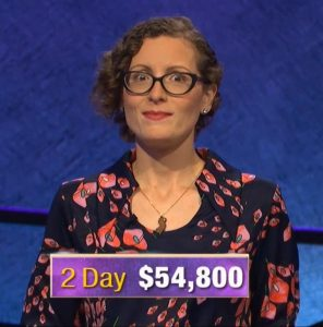 Elise Nussbaum, today's Jeopardy! winner (for the November 21, 2019 game.)