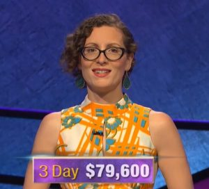 Elise Nussbaum, today's Jeopardy! winner (for the November 22, 2019 game.)