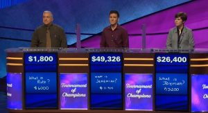 Today's Final Jeopardy! scores (for the November 14, 2019 game.)