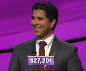 Sathvik Namburar, today's Jeopardy! winner (for the November 19, 2019 game.)