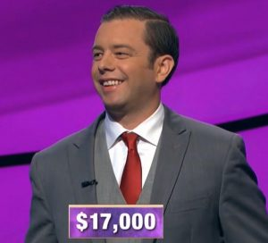 Eric Smith, today's Jeopardy! winner (for the December 19, 2019 game.)