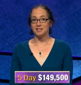 Jennifer Quail, today's Jeopardy! winner (for the December 10, 2019 game.)