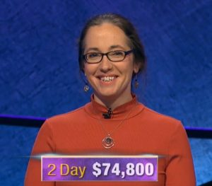 Jennifer Quail, today's Jeopardy! winner (for the December 5, 2019 game.)