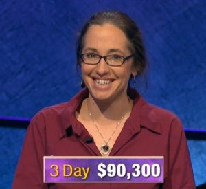 Jennifer Quail, today's Jeopardy! winner (for the December 6, 2019 game.)