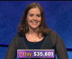 Karen Farrell, today's Jeopardy! winner (for the December 27, 2019 game.)