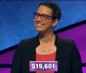 Robin Miner-Swartz, today's Jeopardy! winner (for the December 23, 2019 game.)