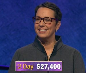 Robin Miner-Swartz, today's Jeopardy! winner (for the December 24, 2019 game.)