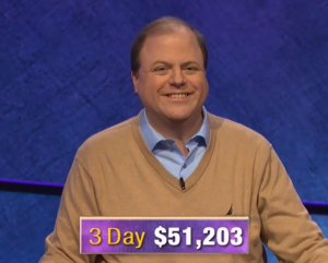 Dennis Coffey, today's Jeopardy! winner (for the January 21, 2020 game.)