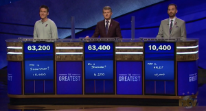 Tonight's final scores for Jeopardy! Greatest of All Time Match 1 (January 7, 2020).
