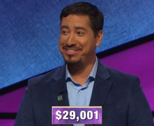 John Cuevas, today's Jeopardy! winner (for the January 22, 2020 game.)