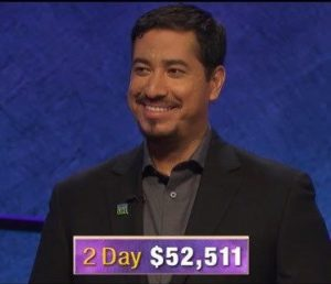 John Cuevas, today's Jeopardy! winner (for the January 23, 2020 game.)