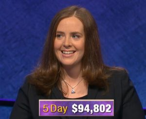 Karen Farrell, today's Jeopardy! winner (for the January 1, 2020 game.)