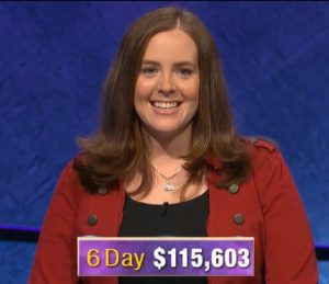 Karen Farrell, today's Jeopardy! winner (for the January 2, 2020 game.)
