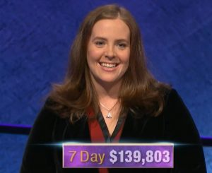 Karen Farrell, today's Jeopardy! winner (for the January 3, 2020 game.)