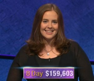 Karen Farrell, today's Jeopardy! winner (for the January 6, 2020 game.)