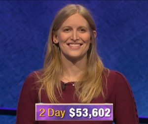 Katie Needle, today's Jeopardy! winner (for the January 10, 2020 game.)