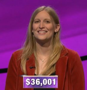 Katie Needle, today's Jeopardy! winner (for the January 9, 2020 game.)