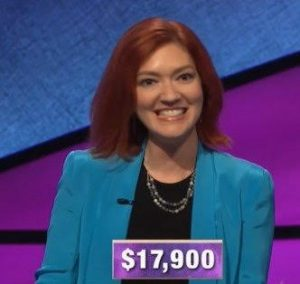 Michelle Paul, today's Jeopardy! winner (for the January 30, 2020 game.)