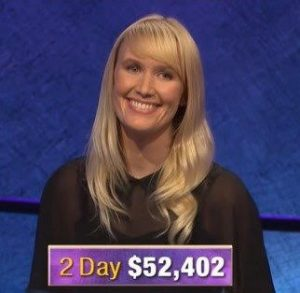 Sarah Frontiera, today's Jeopardy! winner (for the January 28, 2020 game.)