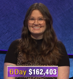 MacKenzie Jones, today's Jeopardy! winner (for the February 24, 2020 game.)