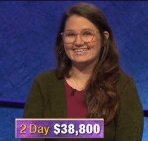 MacKenzie Jones, today's Jeopardy! winner (for the January 18, 2020 game.)