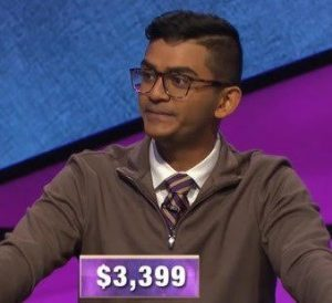 Vinny Byju, today's Jeopardy! winner (for the February 10, 2020 game.)